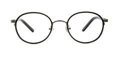 Deze trendy, ronde metalen bril voor heren, uit de Vintage Retro collectie, is zwart van kleur en voorzien van zilverkleurige accenten.