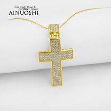 AINUOSHI 10k Solid Yellow Gold Women Cross Pendant Sona Simulated Diamond Fine Jewelry Fashion Hiphop Cross Pendant for Necklace //Price: $US $249.11 & FREE Shipping //     #hashtag4