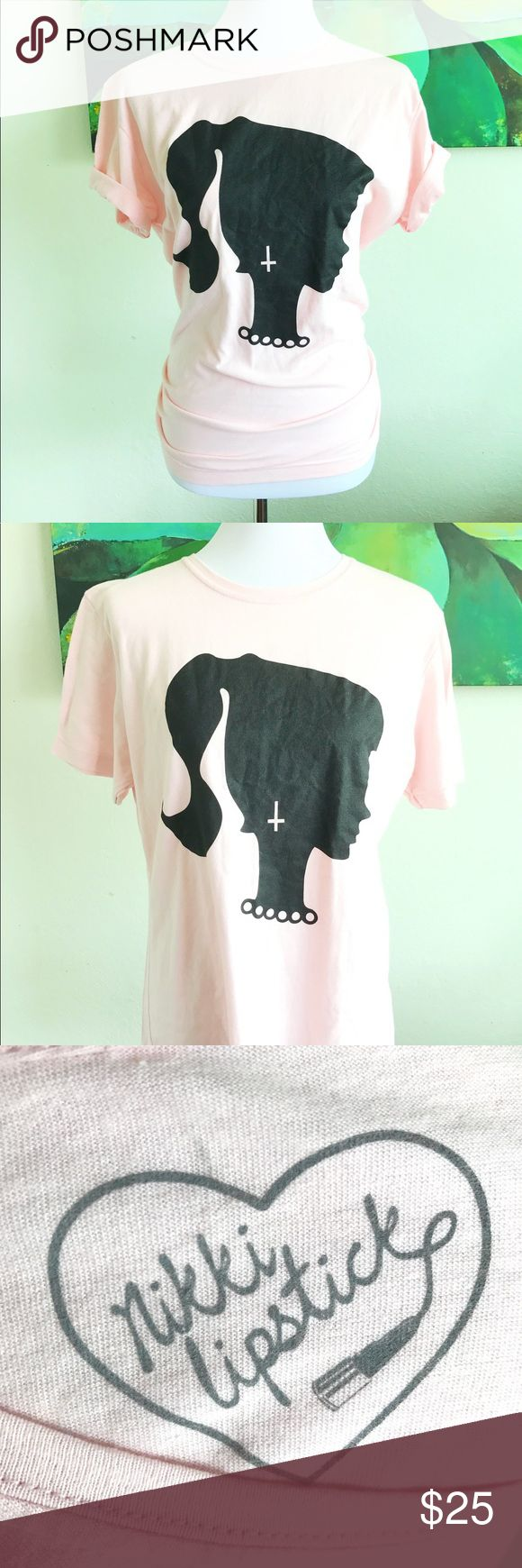 Nikki lipstick graphic t-shirt size large 2015 Dollcult tee. Barbie outline with inverted cross earring. One size fits most! Sold out everywhere! nikki lipstick Tops Tees - Short Sleeve