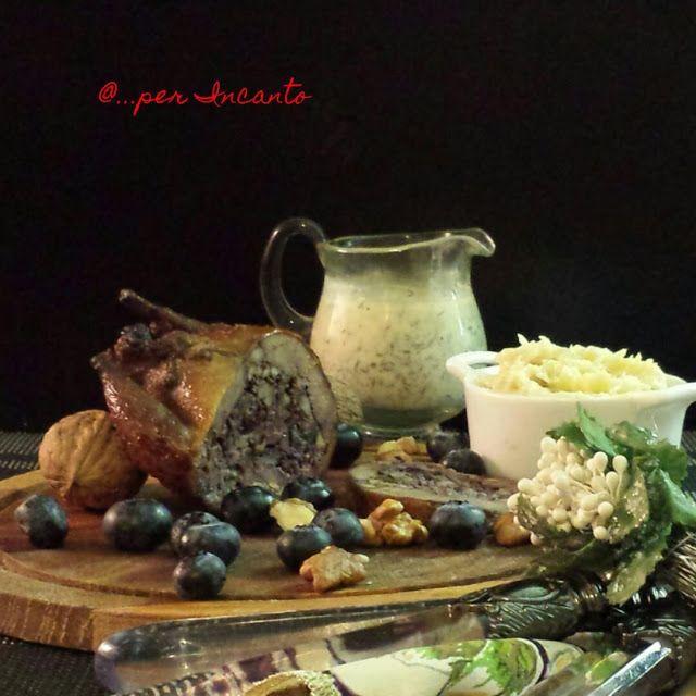 Il Piccione ripieno di animelle, fegatini , mirtilli e noci , e con purea di pastinaca e salsa all'aneto di Cristina