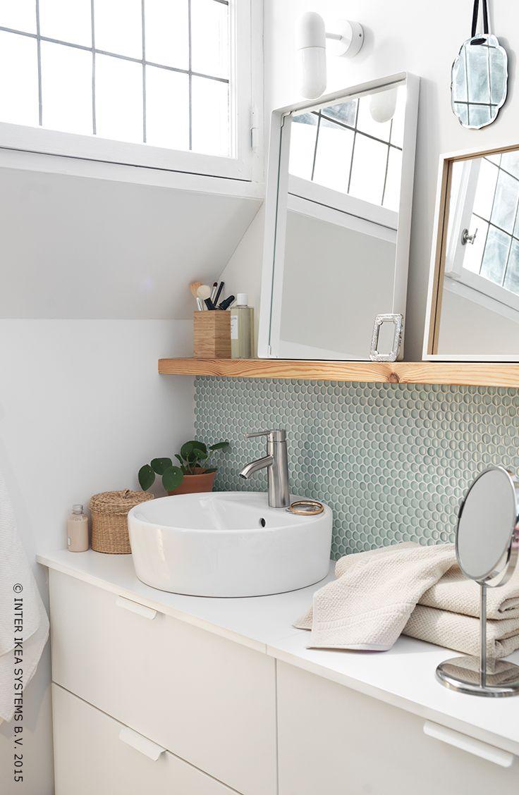 Moderne, fonctionnel et raffiné. Salle de bains ALDERN/TÖRNVIKEN #Aprilnews #salledebains #IKEA regarder pour les lampes