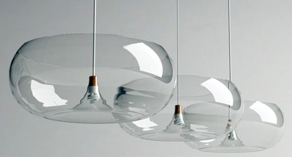 Right: Clear Band Sconce: hand-blown glass fixture with thick clear band lens on a blackened steel frame. This elegant pendant light ...