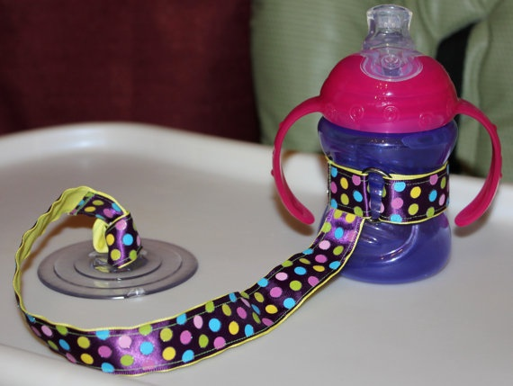 Dotted Sippy Strap with suction cup ---could DIY
