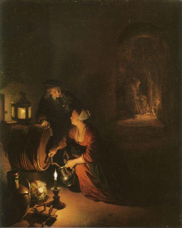 Gerrit Dou - Jonge vrouw en jonge man in een wijnkelder