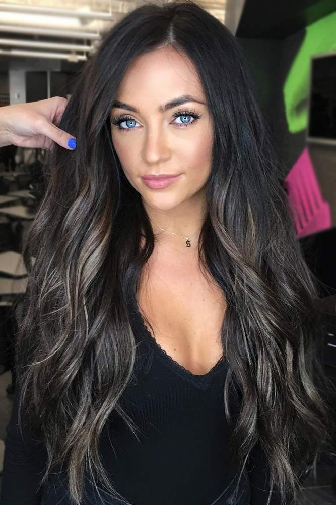 How To Get And Sport Black Hair With Highlights In 2019 Curly Hair Styles Hair Styles Long Hair Styles