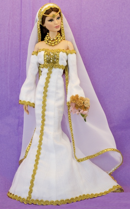 Barbie wearing miniature wedding dress from Therez Fleetwood | One ...