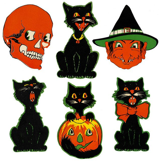 all things retro halloween a splendidly fun selection of vintage halloween die cut decorations love the four different black cats