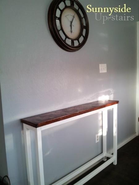 Herringbone Top Console Table | Do It Yourself Home Projects from Ana White