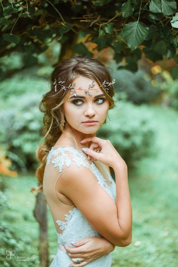 Rose Gold Hairpiece Bridal Hair Vine Rose Gold Wedding Hair