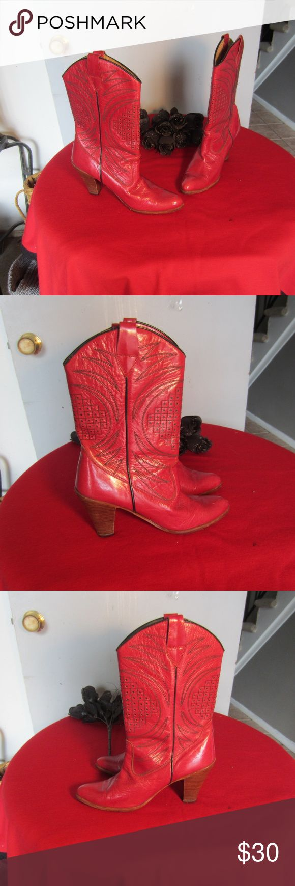 SRO Women,s Red Leather Western Style Boots Sz. 8 Up for sale are these lovely preowned SRO Women,s Red Leather Western Style Boots Sz. 8  . In Very good condition.  Measurements 8  Widest across sole 3&1/4 Inches  Calf opening laying flat 6 inches  Top to bottom 12 inches  Heel height 3&1/2 inches. SRO Shoes Heeled Boots