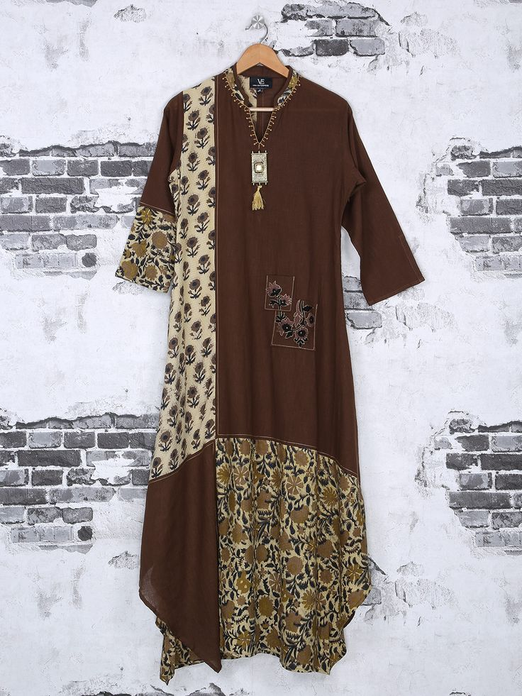 Shop Brown cotton kurti for festive online from G3fashion India. Brand - G3, Product code - G3-WKU1498, Price - 3425, Color - Brown, Fabric - Cotton,