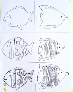 Patterned Name Fish | Art class ideas