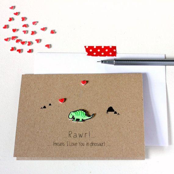 Handmade Engagement Card  //  Wedding Card  //  Anniversary Card  //  Love Card  //  Rawr Dinosaur