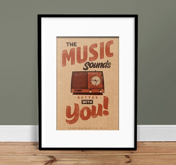 Music Sounds Better With You - Vintage Poster - Retro Art Print !