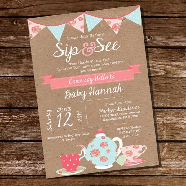 Vintage & Rustic Sip And See Invitation