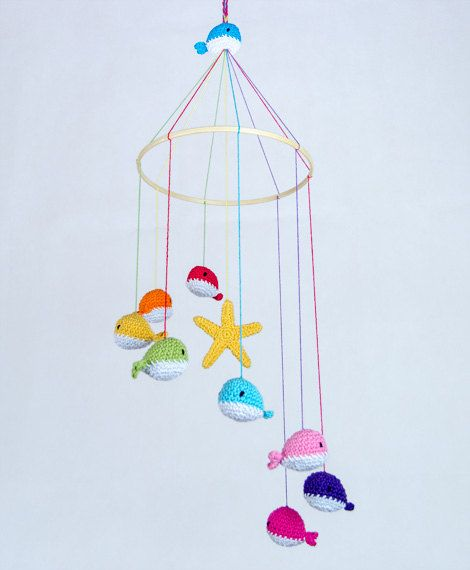 Colorful Crochet Whale Mobile Baby Mobile by OneandTwoOriginals, $70.00