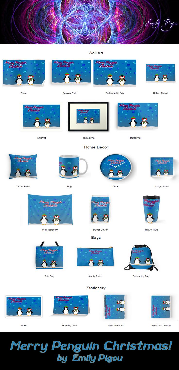 Merry Penguin Christmas by Emily Pigou #MerryPenguinChristmas #penguin  #penguinlovers #cute #animals #Chrismasgifts #Xmasgifts #holidaygifts #familygifts  #giftsforhim #giftsfoorher #giftsforkids #homedecor #wallart #throwpillows #stationary #wallclocks #acrylicblocks #walltapestry  #totebag #mug #buymug  #notebook #journal #buynotebook #duvet #buyduvet #redbubble #emilypigou