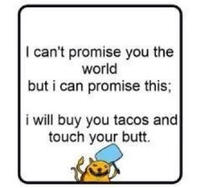 I will buy you tacos and touch your butt: Tacos Funny, Future Hubby, Inspiration Ideas, I Cant Promis The World But, Random Humor, Butt Honey, Random Awesome, Random Giggles, Definition Promis