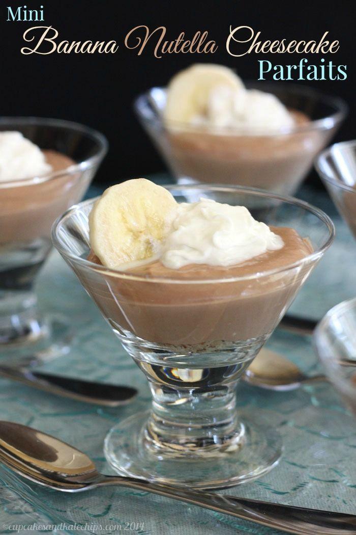 Mini Banana Nutella Cheesecake Parfaits - a yummy miniature no-bake dessert. Make it gluten free with almond or hazelnut meal instead of graham cracker crumbs. | cupcakesandkalechips.com | #chocolate #glutenfree #greekyogurt
