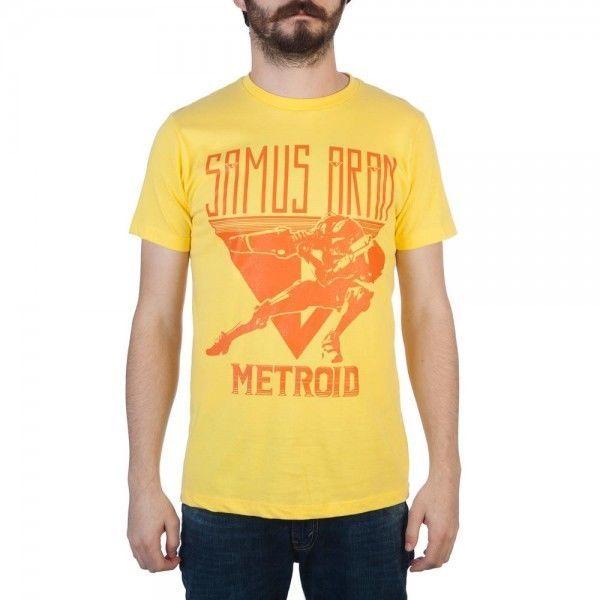 Metroid Samus Returns Mens Tee T-Shirt Yellow Men's Retro Nintendo NES Game NEW #Bioworld #GraphicTee