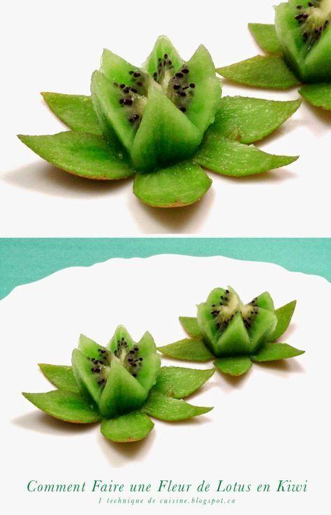 1 Obst- und Gemüseskulptur: Wie man eine Lotusblume in Kiwi in 1 M
