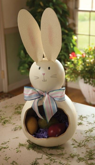 Our gourd bunny with its cut-out belly can be filled with eggs, candy, or whatever you like!