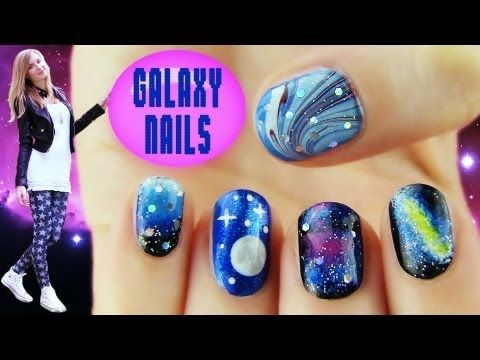 ▶ Galaxy Nails! 5 Galaxy Nail Art Designs & Ideas - YouTube. Only like the 2nd and last ones, but they are soo cool and simple that I had to pin it!