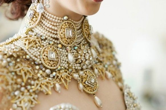 Queensland Brides Magazine - a Belle Époque inspired jewelled necklace and mock jewelled capelet fastened with crystal buttons.