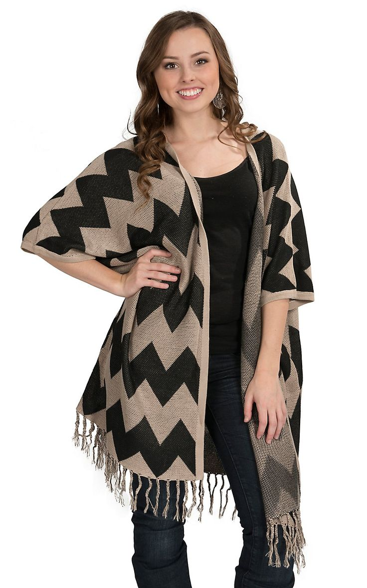 Miss Kelly Black and Tan Chevron Cardigan