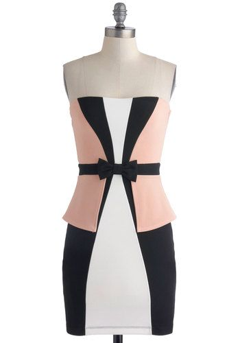 The Pink Prancer Dress - Pink, Black, White, Bows, Girls Night Out, Bodycon / Bandage, Strapless, Sweetheart, Colorblocking