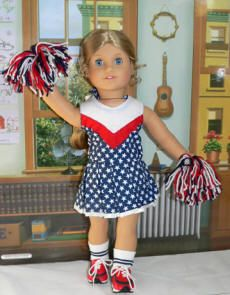 """Includes red, blue, and white cheer outfit with white stars on a blue background.  Also included are the """"spanks"""", Striped Socks, Red and Blue Tennis Shoes, 2 blue scrunchies, and cute red, blue, and white Pom Poms"""