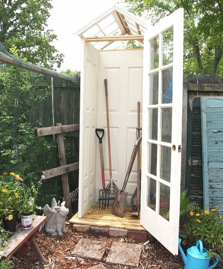 Transform A Tiny Backyard Into A Garden Oasis 3 solid doors, 1 french door, two windows, some kind of support framing :)