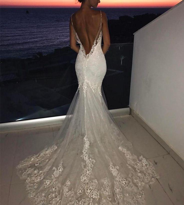 Elegant Backless Lace V-neck Mermaid Wedding Dresses