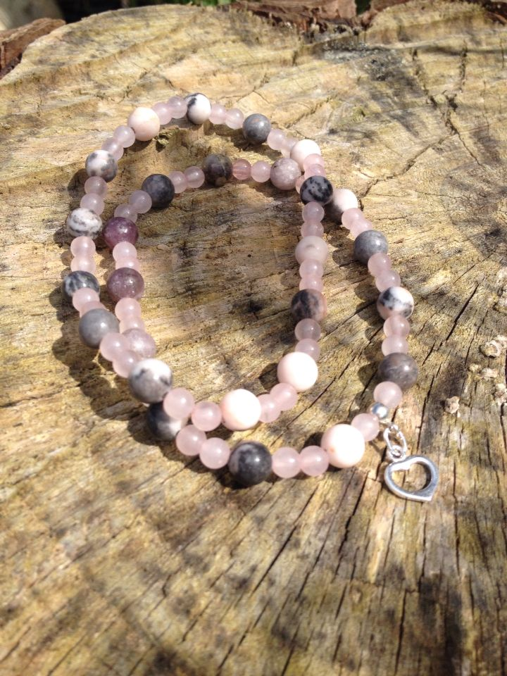 Gorgeous summer bracelet set pink jasper and pink Quartz with silver charm. Stunning. Follow me on Twitter #LoveByLou