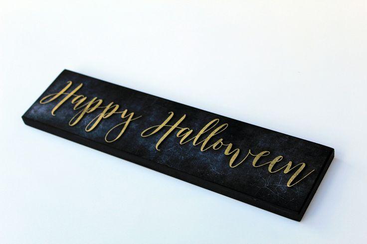 Mantle/Tabletop Halloween Sign Orange Script