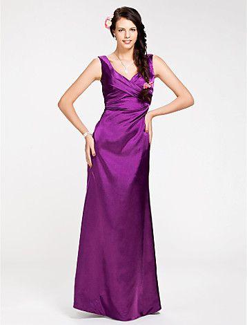 Bridesmaid Dress Floor Length Stretch Satin Sheath Column V Neck Dress - GBP £ 55.19