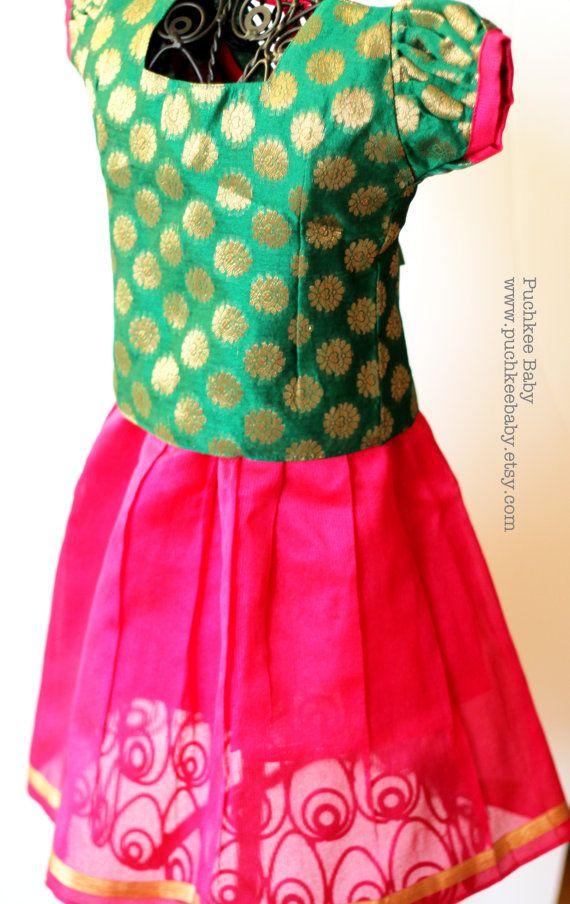 Handmade Brocade Lehenga Choli Pattu Pavadai Skirt