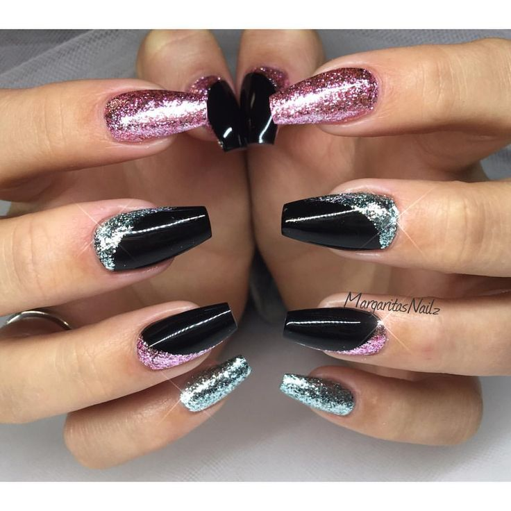 Black coffin nails glitter gel nail art