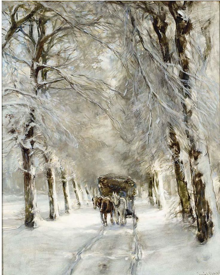 A Horse And Carriage On A Snowy Lane, Louis Apol. Dutch (1850 - 1936)