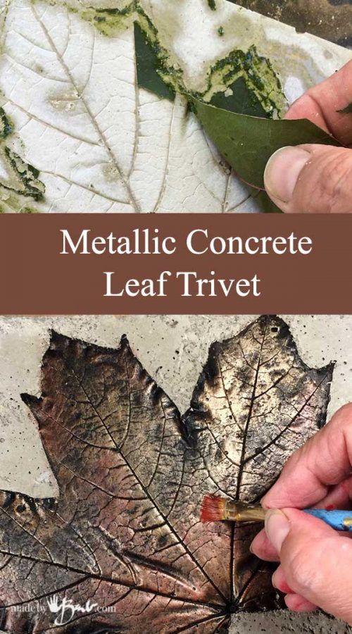 Metallic Concrete Leaf Trivet Made By Barb Cast Real Leaf Easy Quick Project Metallic Paint Concrete Leaves Diy Concrete Planters Cement Crafts