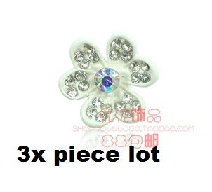 3 piece lot White and crystal flowers alloy diy bling phone deco etc | chriszcoolstuff - Craft Supplies on ArtFire