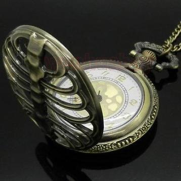 Bronzen Gothic Lolita Steampunk Horloge Ketting Skelet S3511