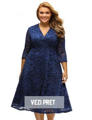 rochi de seara pentru femei grase din dantela albastra