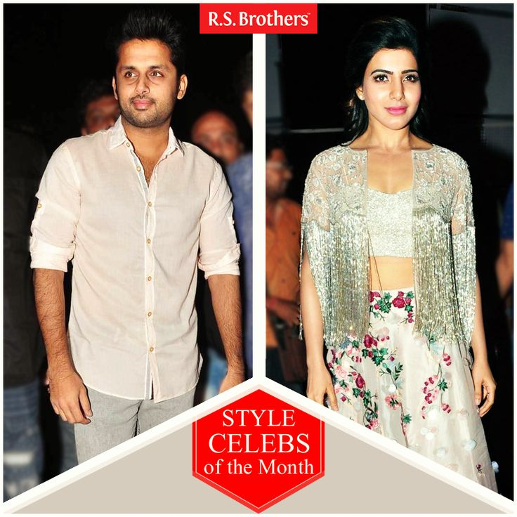 """#StyleCelebsOfTheMonth Hey Folks, this week Tollywood celebrities' #Nithiin and  #Samantha Ruth Prabhu are dazzled in Trendy outfits for """"A AA"""" Movie AudioLaunch. (Image copyrights belong to their respective owners)"""
