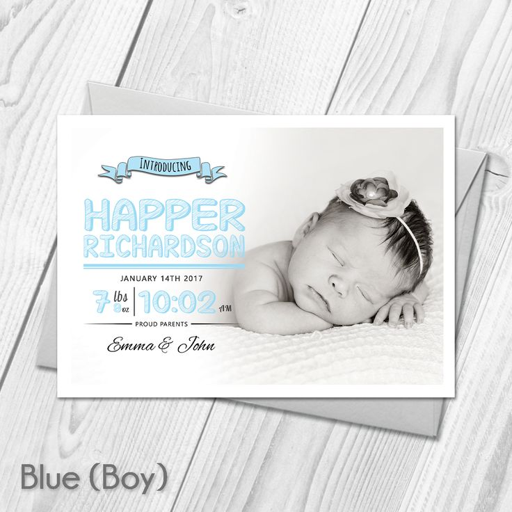 26 Best Personalised Photo New Baby Birth Announcement
