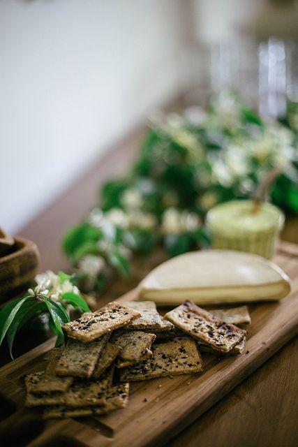 Homemade sesame, poppy, & fennel seed rye crackers