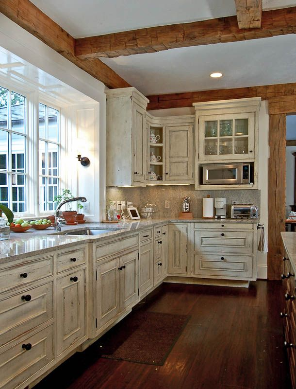 An Atlanta European Traditional Painted Kitchen With An Ivory Glaze.  ARCHITECT: William T.