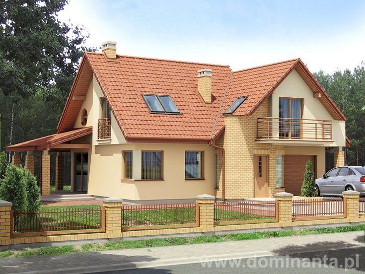 Projekt Balbina, jasna elewacja, ciekawy taras. Do nabycia w pracowni http://www.dominanta.pl/