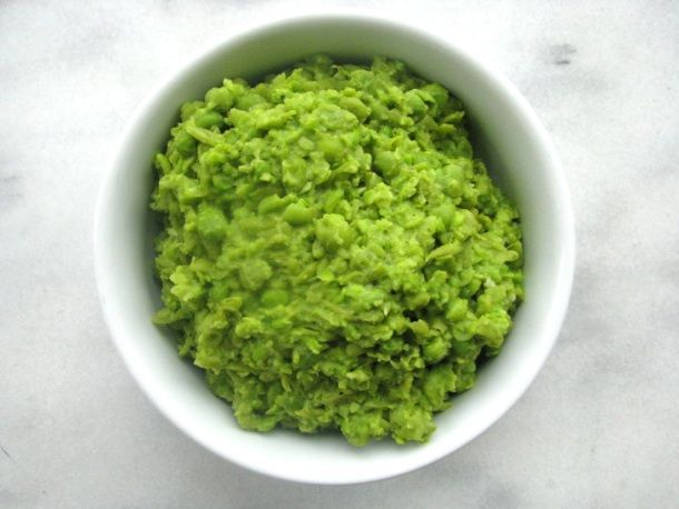 Mushy peas: used to hate peas because they were usually canned and especially because they pop when you eat them. Both problems solved. :)