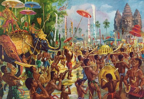 """""""Conchs, Horns, and Gongs Herald a King Riding Through Angkor Atop His Elephant"""" by Maurice Fievet."""